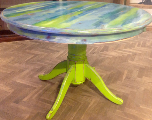 Green and Blue Circular Table