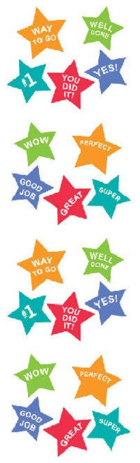 Full Roll - Mrs. Grossman's Stickers - Super Stars w Messages - Off The Wall Toys and Gifts