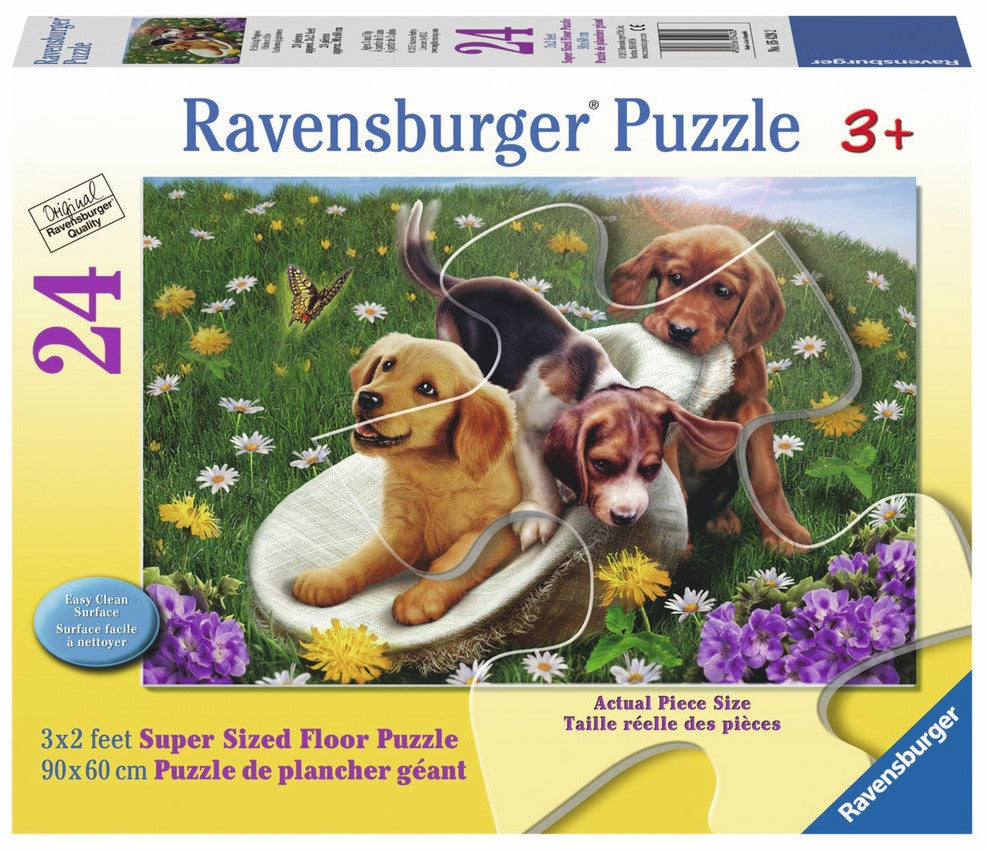 Frolicking Puppies 24 Piece Supersized Floor Puzzle, by Ravensburger - Off The Wall Toys and Gifts