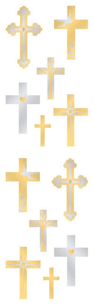 Mrs Grossman's Stickers - Gold & Silver Crosses - Off The Wall Toys and Gifts