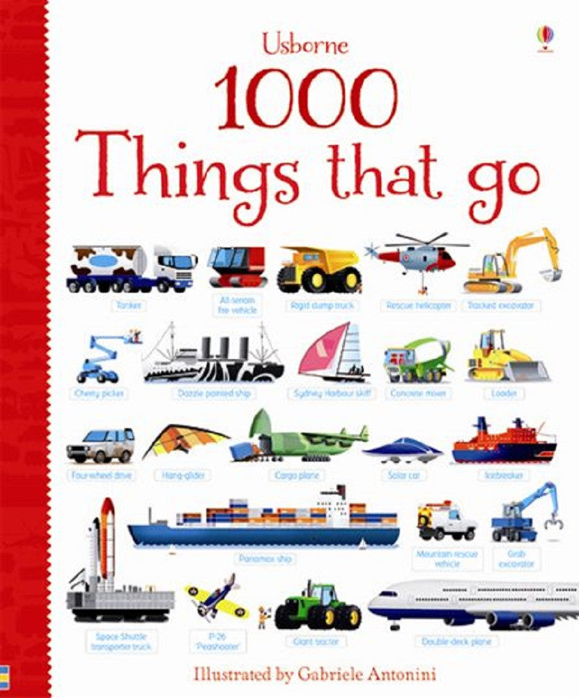 1000 Things That Go - Hardback - Word/Picture Identification Book by Usborne