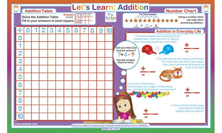 Let's Learn Addition - Math Activity Placemat  by Tot Talk - Off The Wall Toys and Gifts
