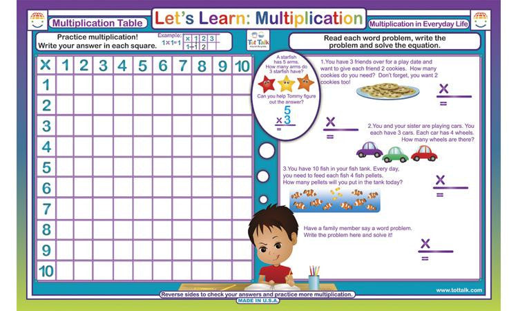 Let's Learn Multplication - Math Activity Placemat  by Tot Talk - Off The Wall Toys and Gifts