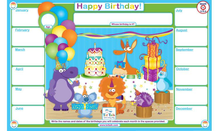 Happy Birthday Activity Placemat by Tot Talk - Off The Wall Toys and Gifts