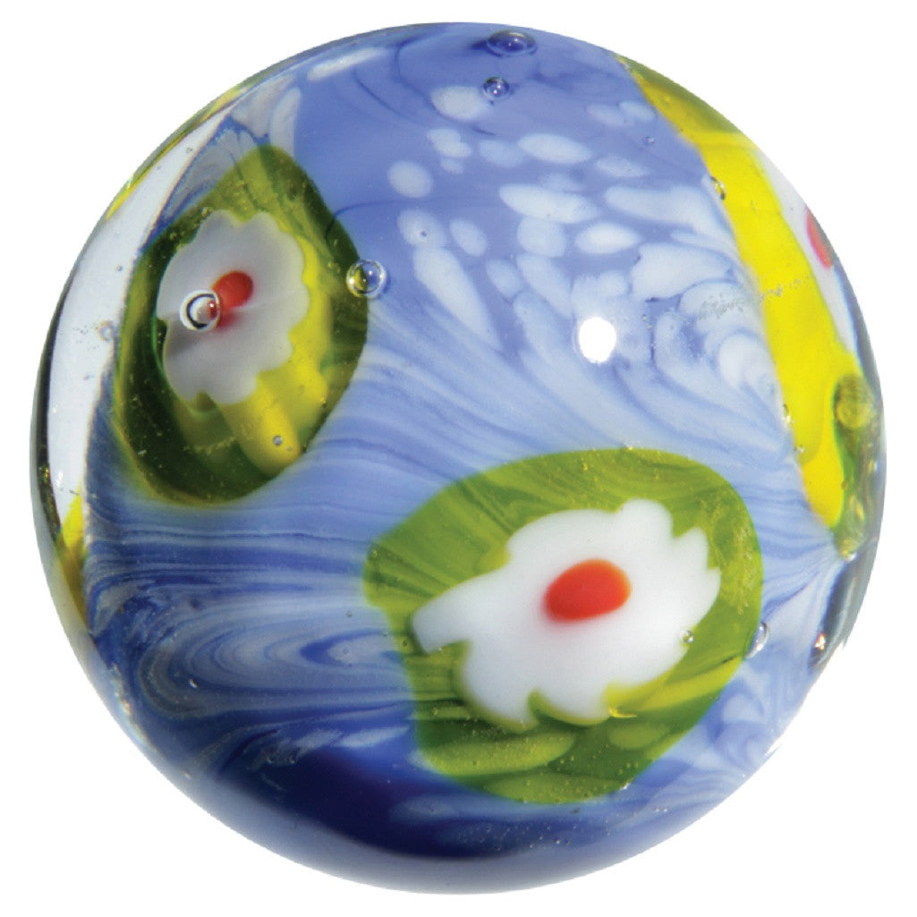 "16mm  Handmade Art Glass ""Eye of the Storm"" Marble w Stand - Off The Wall Toys and Gifts"