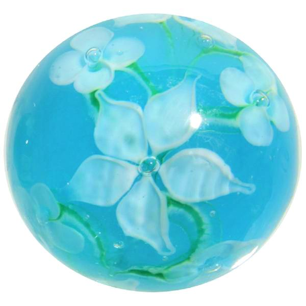 """Hibiscus"" 22mm Handmade Art Glass Marble w Stand"