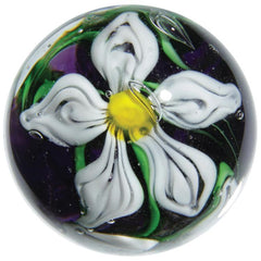 """Clematis"" 22mm Handmade Art Glass Marble w Stand"