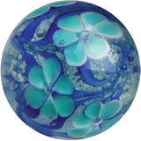 """Aster"" - 22mm Handmade Art Glass Glow in the Dark Marble w Stand"