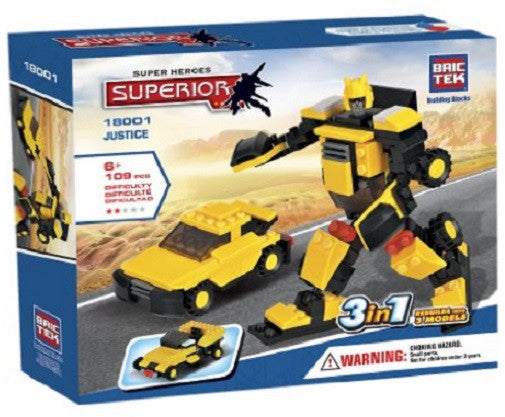 Brictek Super Heroes Justice Building Blocks - 3 in 1 Construction Kit - 109 Pieces - Off The Wall Toys and Gifts