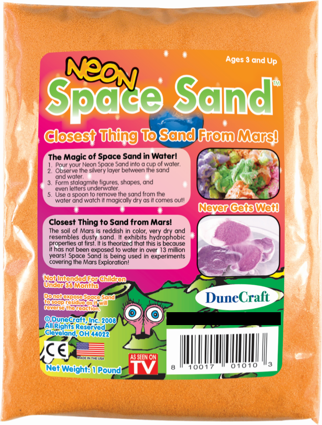 Neon Orange Space Sand: 1lb of Hydrophobic Sand - Off The Wall Toys and Gifts
