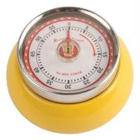 55 Min Magnetic Rotary Kitchen Timer Retro Steel Yellow