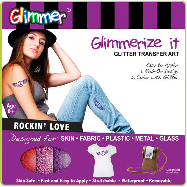 Glimmerize It - Glitter Transfer Art - ROCKIN' LOVE - Off The Wall Toys and Gifts