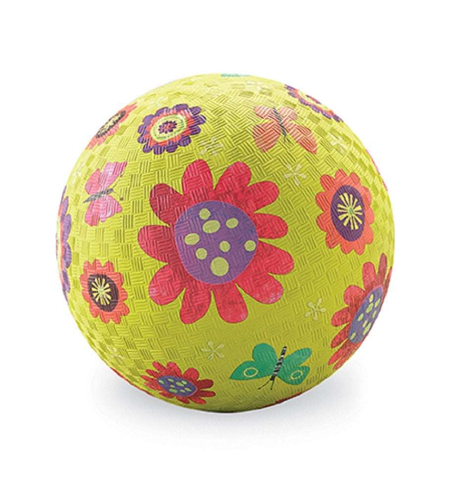 Flower Garden Rubber Playball Green - 5 Inch Indoor Outdoor Ball