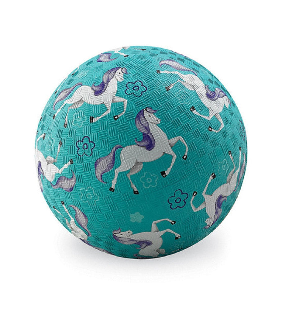 Horses Rubber Playball Turquoise - 7 Inch Indoor Outdoor Ball