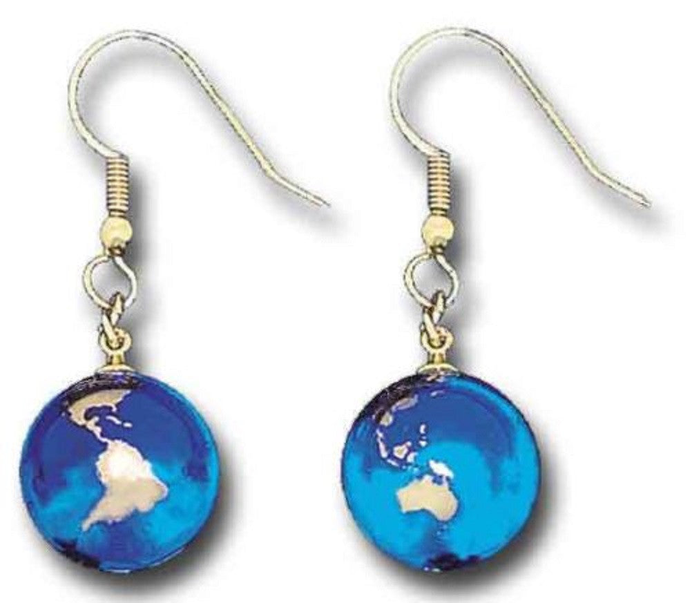 Earrings - Blue Recycled Glass Earth Marbles With 22K Gold Continents