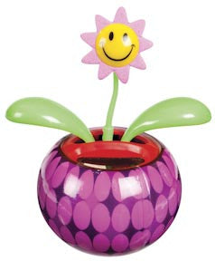 Pink Mini Solar Dancing Flower with Adhesive Base - Off The Wall Toys and Gifts