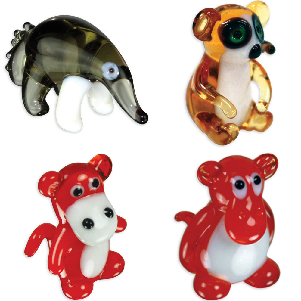 Looking Glass Torch - Jungle Figurines - AntEater, Lemur & 2 Different Baboons  (4-Pack) - Off The Wall Toys and Gifts