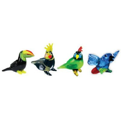 Looking Glass Miniature Collectible - Toucan - Cockatiel - Parrot - Macaw (4-Pack)