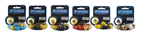 Moody Marbles 6 Mibster Net Sets -LMFAO, Cool, Crazy, Love, Nerdy, Poop - Off The Wall Toys and Gifts