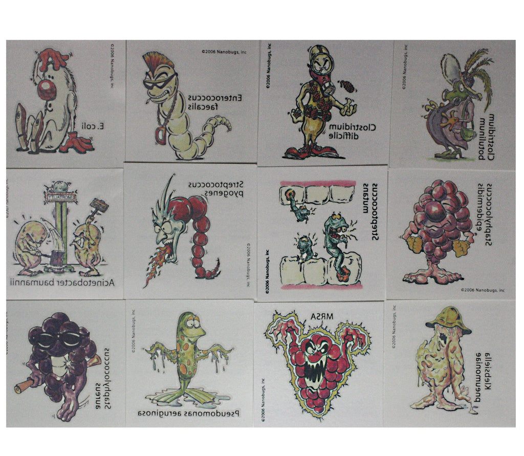 Nanobugs Bacteria Temporary Tattoos Set B-14