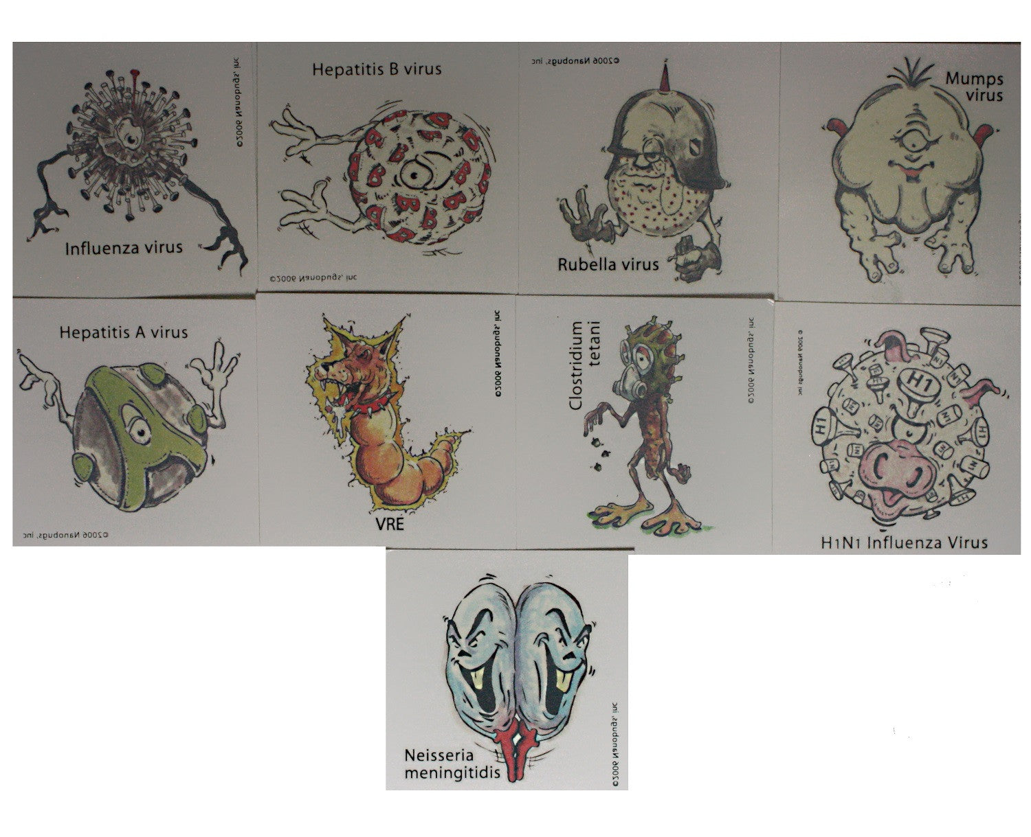 Nanobugs Vaccine Preventable Temporary Tattoos Set C-30 - Off The Wall Toys and Gifts