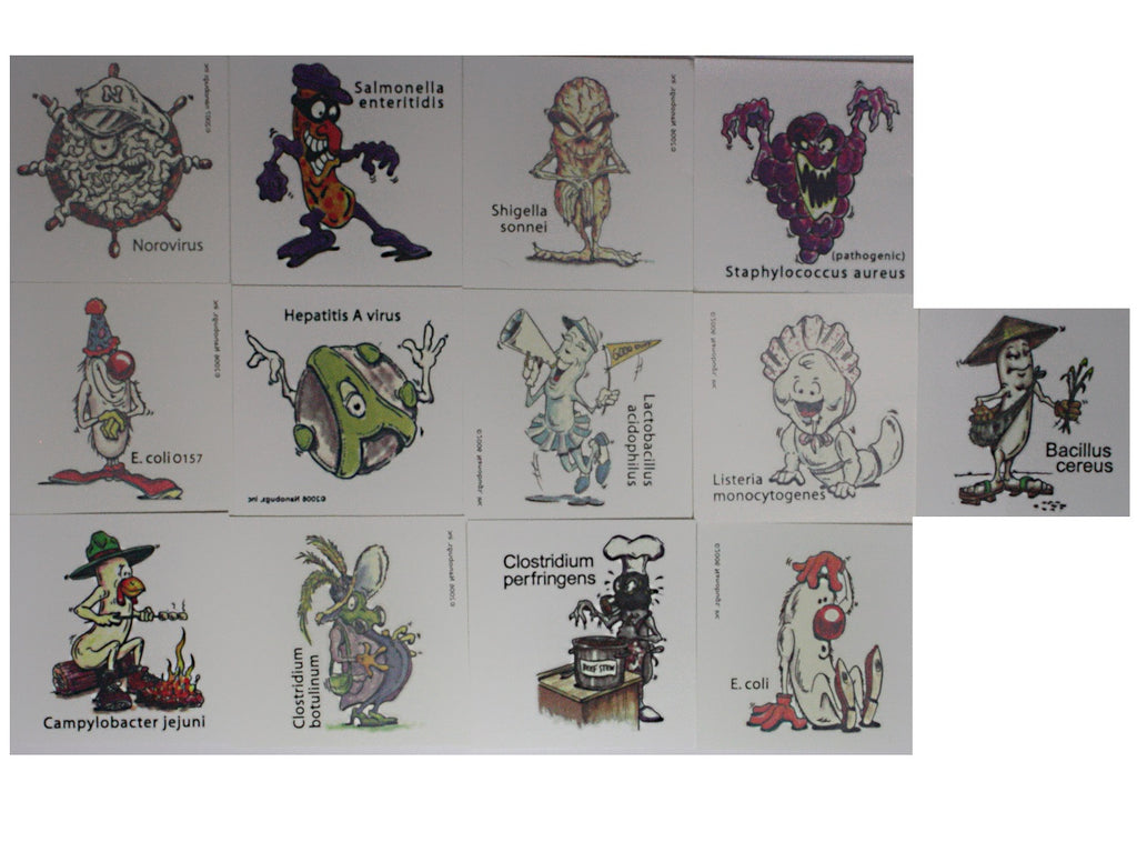 Nanobugs Food-Borne Microbes Temporary Tattoos Set F-24