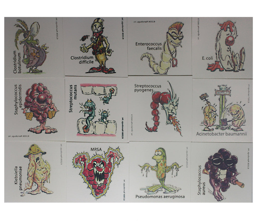 Nanobugs Bacteria Temporary Tattoos Set B-24