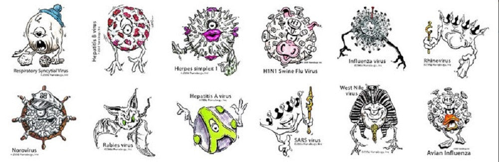 Nanobugs Viruses Temporary Tattoos Set A-24