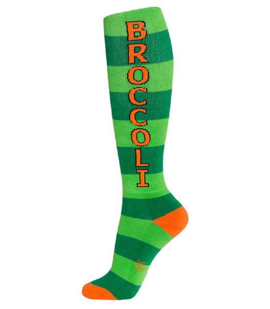 Broccoli Socks - Green and Orange Unisex Knee High Socks - Off The Wall Toys and Gifts