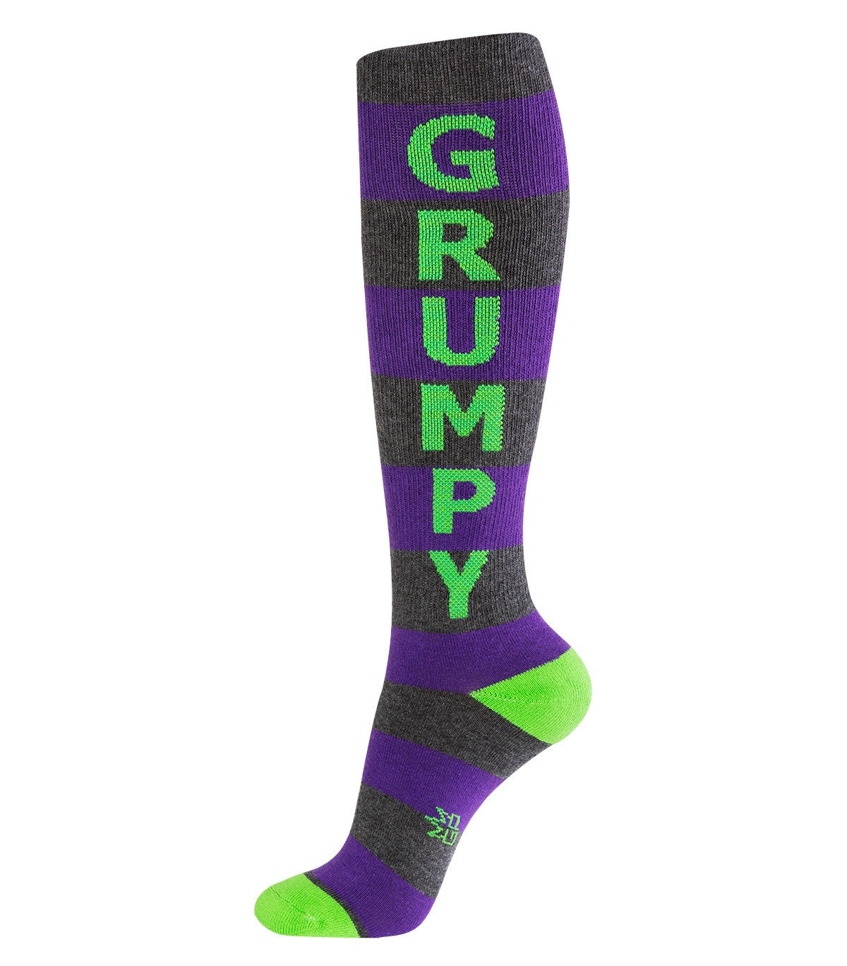Grumpy Socks - Purple, Green and Gray Unisex Knee High Socks - Off The Wall Toys and Gifts