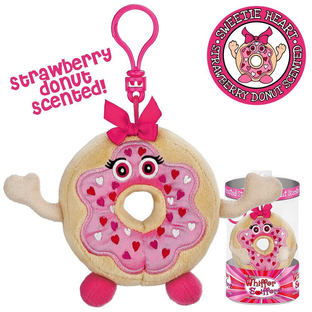Whiffer Sniffers Sweetie Heart - Strawberry Donut Scented Plush Backpack Clip