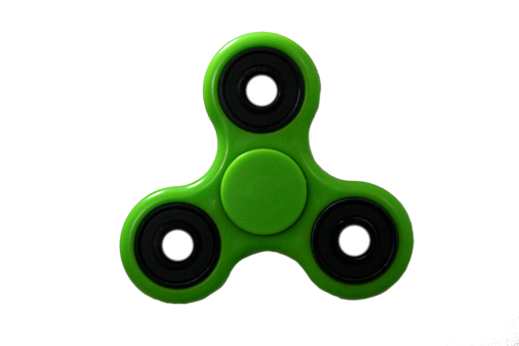 Green Tri-Spinner Fidget Spinner w/Black Bearings, by Fidgets For Your Digits