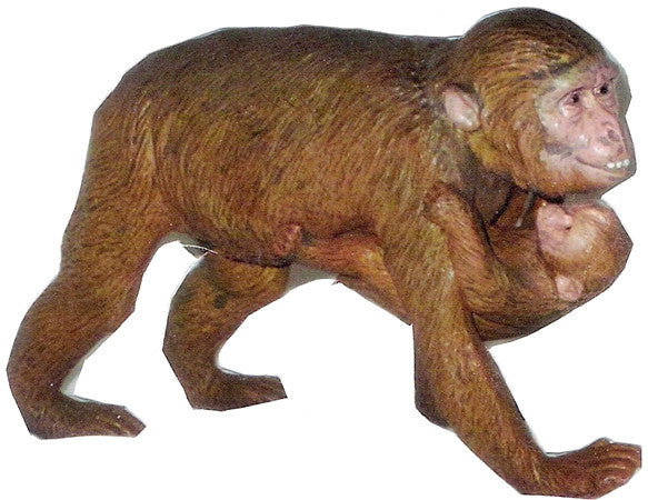 "5.75"" Realistic Rubber Primate Replica - Female Macaque w/Baby - Off The Wall Toys and Gifts"