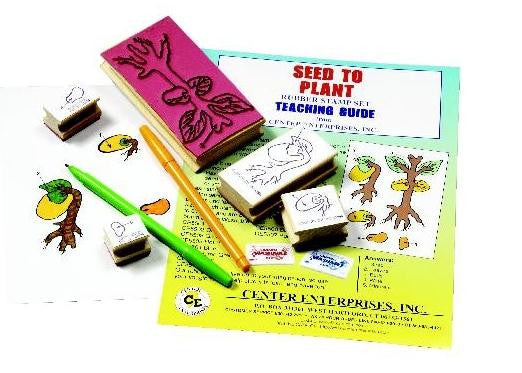 Seed to Plant Lifecycle Rubber Stamper Set; 5 Stamps & Teachers Guide - Off The Wall Toys and Gifts