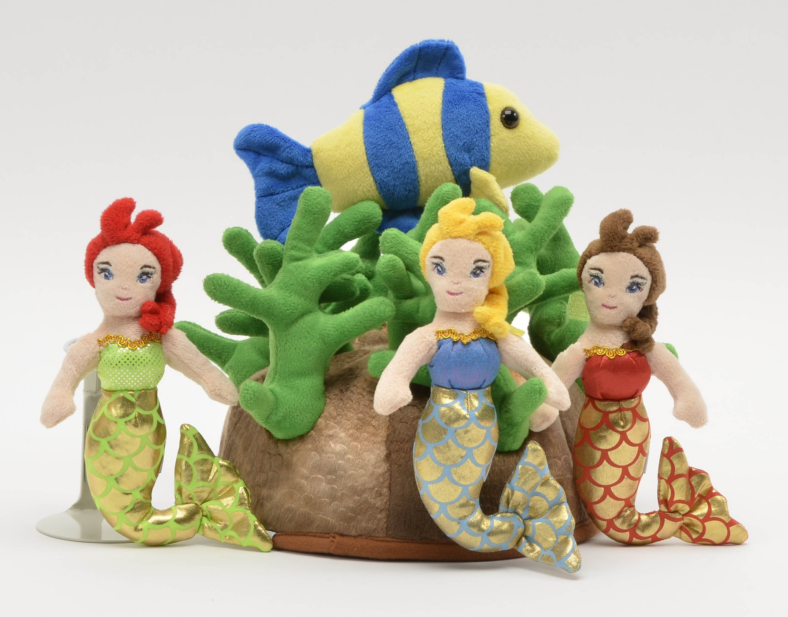 "Mermaid House - 12"" Reef Shaped Carrying Case w/3 Plush Mermaids & 1 Fish by Unipak Designs"