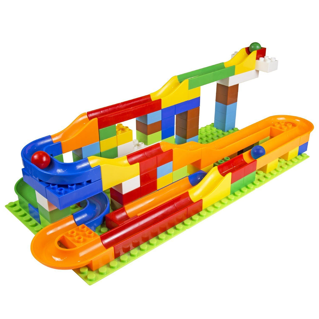 Marble Fun Run with Building Blocks - 125 Piece Marble Run