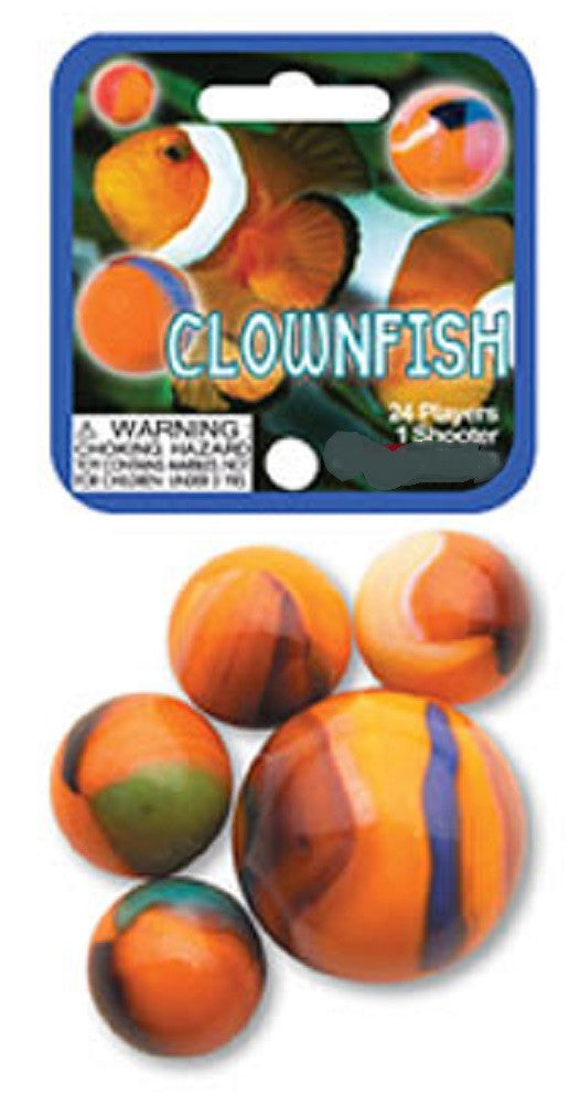 Clownfish Game Net Set 25 Piece Glass Mega Marbles