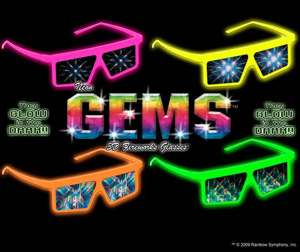 Gems Fireworks Glasses w/ Neon Plastic Frame 1 Pair - Off The Wall Toys and Gifts
