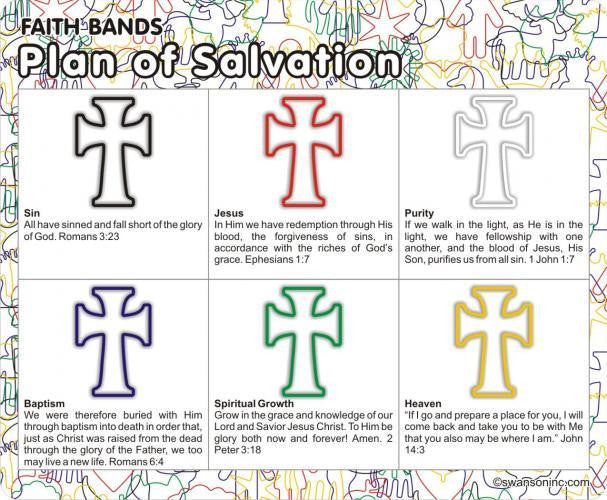 Plan of Salvation: Christian Faith Bands Rubber Band Bracelets 12pk - Off The Wall Toys and Gifts