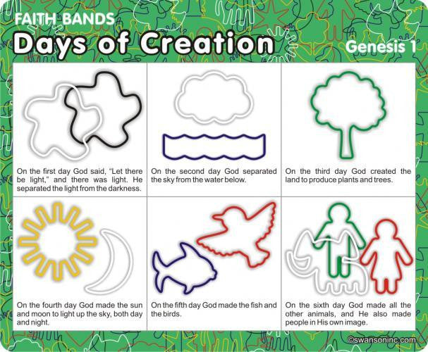 Days of Creation: Christian Faith Bands Rubber Band Bracelets 12pk - Off The Wall Toys and Gifts