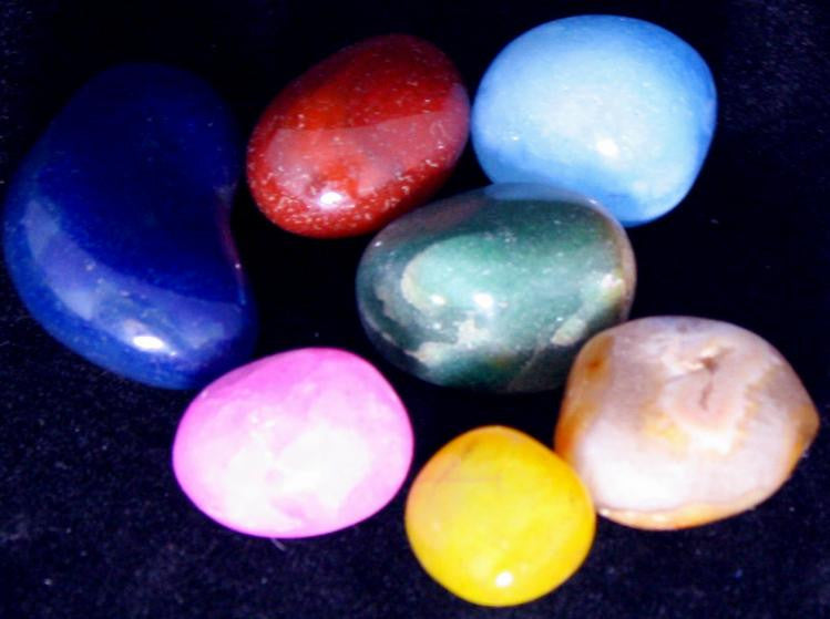 12 Gemstones: Mix, Dyed and Natural Tumbled/Polished w/Bag