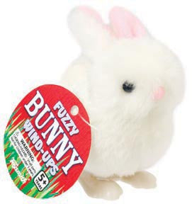 Wind-up Fuzzy Bunny Rabbit - White Fur - Off The Wall Toys and Gifts