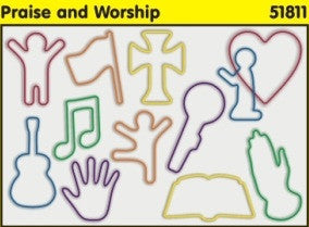 Praise and Worship: Christian Faith Bands Rubber Band Bracelets 12pk - Off The Wall Toys and Gifts