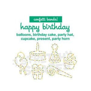 Happy BIRTHDAY Stretchy Shapes: Confetti Rubber Band Bracelets 24pk - Off The Wall Toys and Gifts