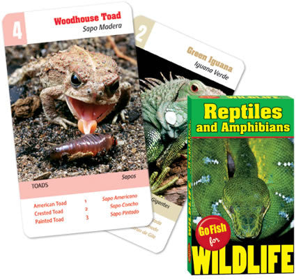 Go Fish For Wildlife: REPTILES & AMPHIBIANS: 4 Games In One Deck of Wild Cards