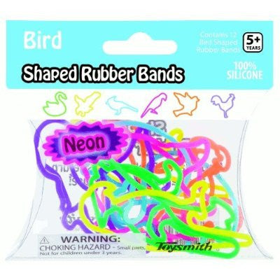 Neon BIRD Shape Rubber Band Bracelets 12pk - Off The Wall Toys and Gifts