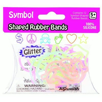 Glitter SYMBOL Shape Rubber Band Bracelets 12pk - Off The Wall Toys and Gifts