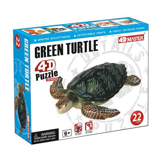 4D Green Turtle Model 22 Piece Puzzle Realistic Detail - Off The Wall Toys and Gifts