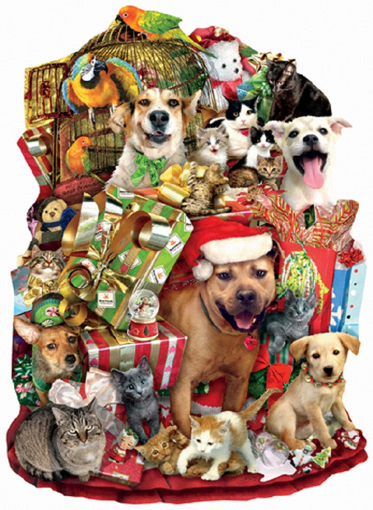 A Pile of Presents - Holiday Shaped Pets Jigsaw Puzzle - 1000 pc
