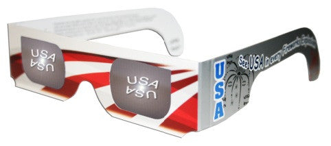 3D Holographic Glasses w Patriotic Frame-See USA at Any Bright Point of Light-10 pack